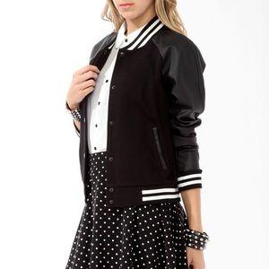 Forever 21 Black Varsity Jacket faux leather